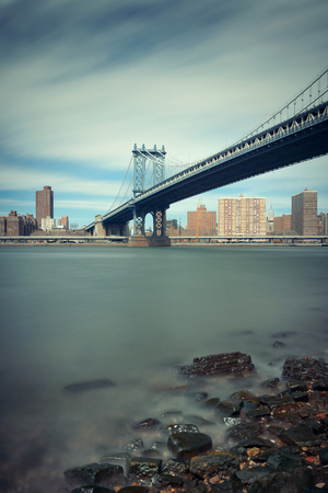 manhattan bridge: Manhattan Bridge and downtown New York City waterfront Stock Photo