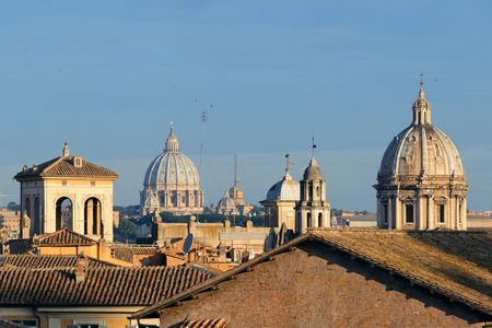 dome: Rooftop view of Rome historical architecture and city skyline. Italy. Stock Photo