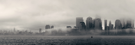 fog white: New York City downtown business district panorama in a foggy day