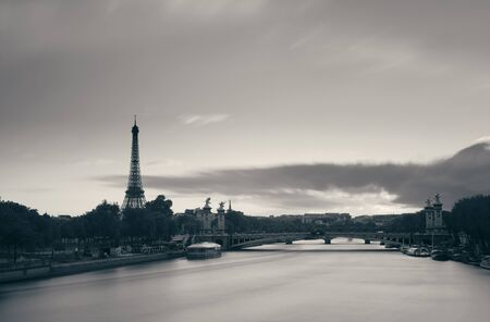alexandre: Paris River Seine with Eiffel tower and Alexandre III bridge at sunset