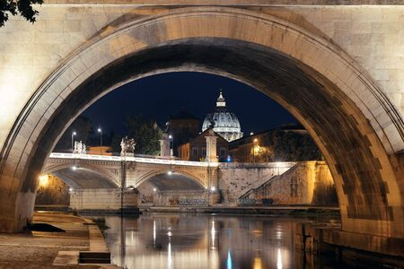 ponte: River Tiber in Rome with Vatican City St Peters Basilica,  Ponte Vittorio Emanuele II and Ponte Sant Angelo Editorial