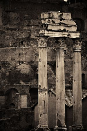 historical landmark: Columns. Rome Forum with ruins of historical buildings. Italy.
