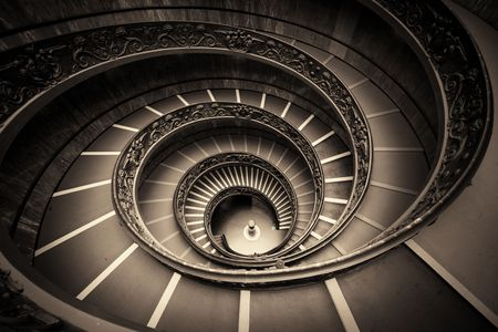 blackwhite: Spiral staircase in Vatican Museum.