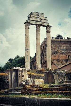 european culture: Columns. Rome Forum with ruins of historical buildings. Italy.