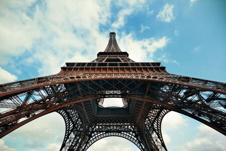 steel tower: Eiffel Tower as the famous landmark in Paris, France.