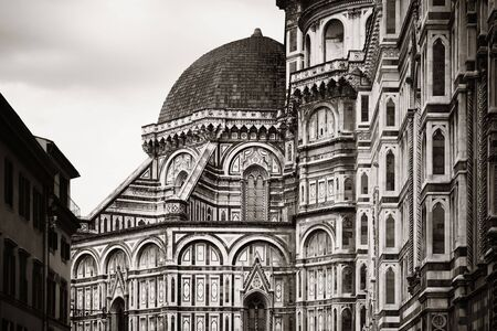 Duomo Santa Maria Del Fiore in Florence Italy closeup view in black and white.