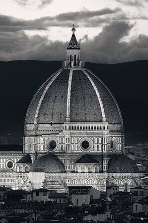 Duomo Santa Maria Del Fiore in Florence Italy dome closeup view at night Stock Photo