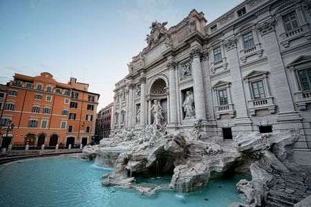 italian fountain: Trevi Fountain with Baroque style as the famous tourism attraction in Rome, Italy.