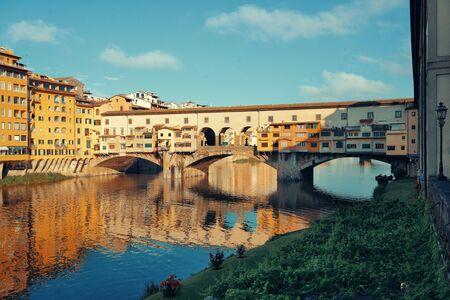 Ponte Vecchio over Arno River in Florence Italy. Stock Photo
