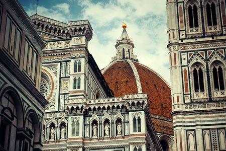 Duomo Santa Maria Del Fiore in Florence Italy closeup view.