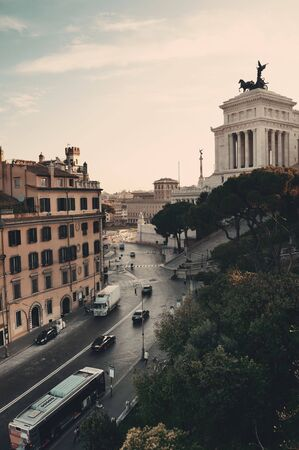 emmanuel: Street view with National Monument to Victor Emmanuel II in Rome, Italy. Editorial