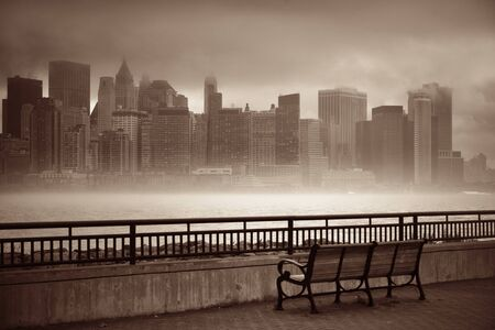 downtown district: New York City downtown business district in a foggy day viewed from park