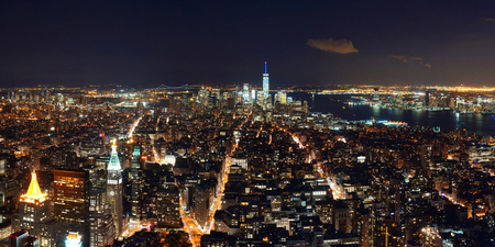 New York City downtown skyline panorama night view.