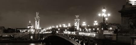 Alexandre III bridge night view panorama with Napoleons tomb in Paris, France.