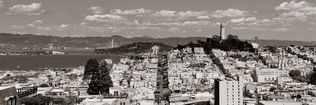 street on hill in San Francisco panorama view from top of Lombard Street Stock Photo
