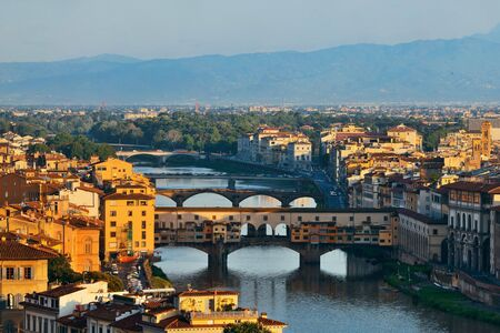 ponte vecchio: Florence skyline viewed from Piazzale Michelangelo and Ponte Vecchio Stock Photo