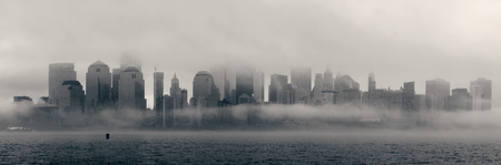 downtown district: New York City downtown business district panorama in a foggy day