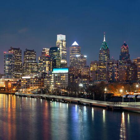 philadelphia: Philadelphia skyline at night with urban architecture.