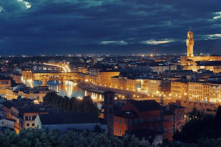 Florence skyline viewed from Piazzale Michelangelo at night Stock Photo