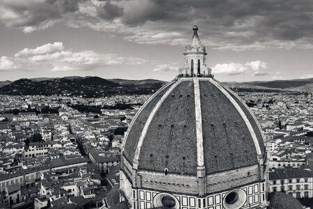 Duomo Santa Maria Del Fiore dome and skyline in Florence Italy.