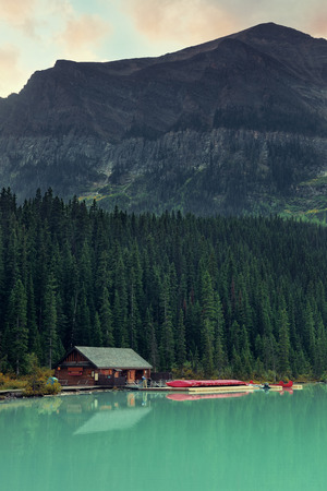 boat house: Boat house by Lake Louise in Banff National Park, Canada.