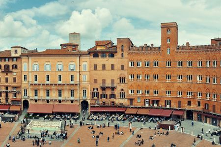 Old buildings in Piazza del Campo in Siena, Italy. Editorial
