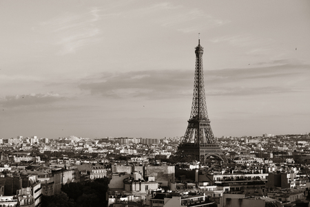 steel tower: Paris rooftop view skyline and Eiffel Tower in France. Stock Photo