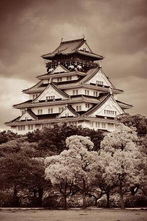 blackwhite: Osaka Castle as the famous historical landmark of the city. Japan.