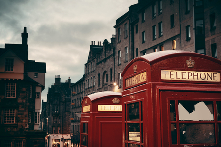 history building: Edinburgh city street view with telephone box in United Kingdom. Stock Photo