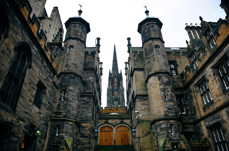 The University of Edinburgh historical architecture closeup.