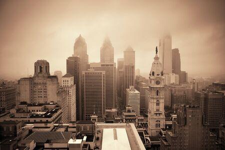 blackwhite: Philadelphia city rooftop view with urban skyscrapers. Stock Photo
