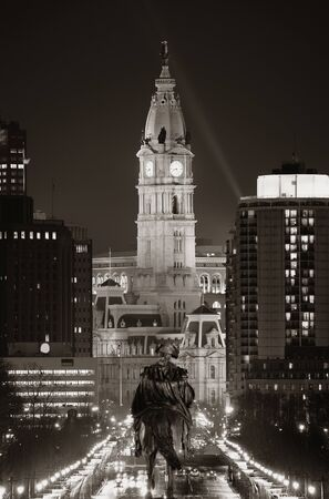 George Washington statue and City Hall at night in Philadelphia Stock Photo