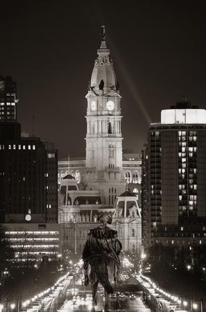 cityhall: George Washington statue and City Hall at night in Philadelphia Stock Photo