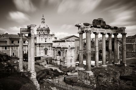 european culture: Rome Forum with ruins of historical buildings. Italy. Stock Photo