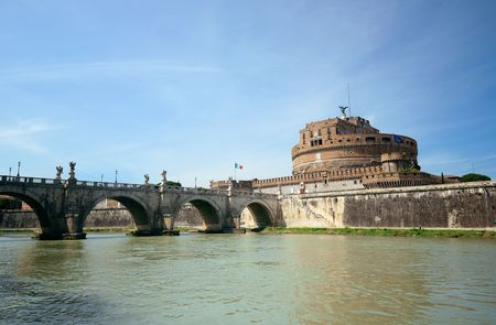 tiber: Castel Sant Angelo in Italy Rome and bridge over River Tiber Editorial