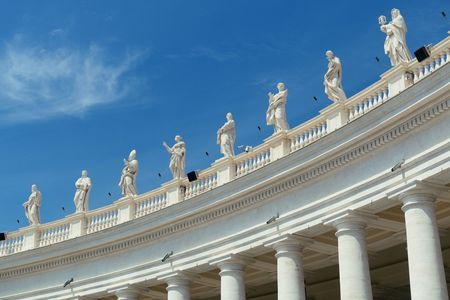 Historical architecture in Vatican City with sculptures