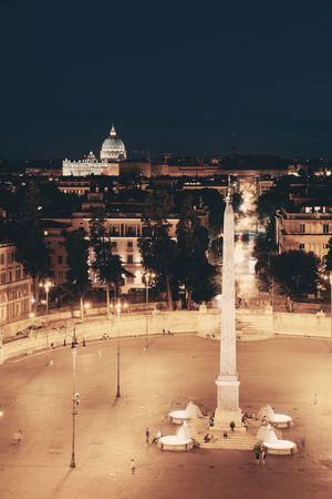 restaurante italiano: Piazza del Popolo at night in Rome, Italy.