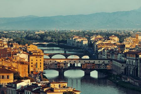 michelangelo: Florence skyline viewed from Piazzale Michelangelo and Ponte Vecchio Stock Photo