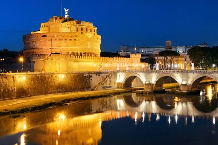 castel: Castel Sant Angelo and bridge over River Tiber at night in Rome, Italy.