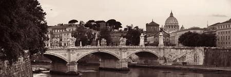River Tiber and St Peters Basilica in Vatican City panorama