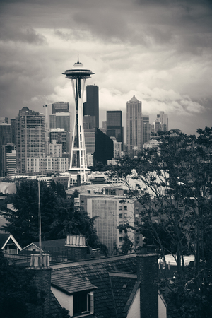 northwest: SEATTLE, WA - AUG 14: Space Needle and city downtown on August 14, 2015 in Seattle. Seattle is the largest city in both the State of Washington and the Pacific Northwest region of North America