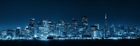 white: San Francisco city skyline with urban architectures at night panorama.