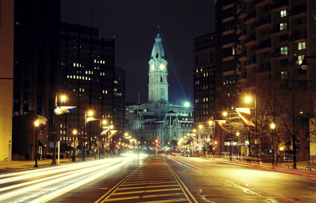 history building: Philadelphia City Hall and street view at night Stock Photo