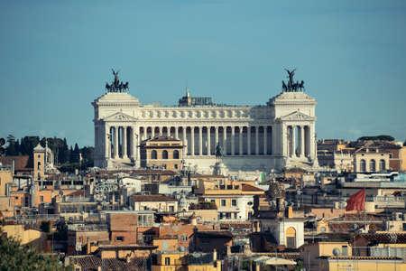 Monumento Nazionale a Vittorio Emanuele II as the famouse landmark historic architecture in Rome Italy Stock Photo