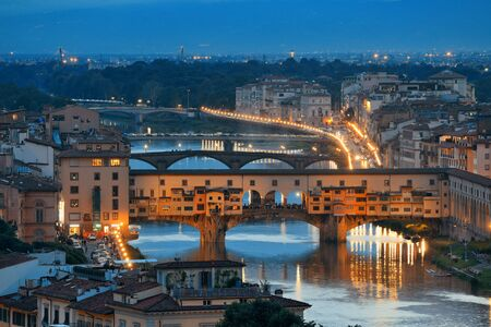 michelangelo: Florence skyline viewed from Piazzale Michelangelo at night with Ponte Vecchio Stock Photo