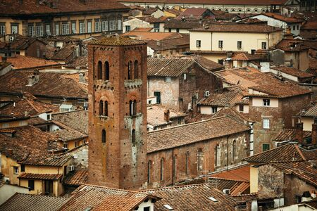 Lucca viewed from above in Italy. Stock Photo
