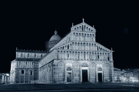 Cathedral at Piazza dei Miracoli (or Square of Miracles) in Pisa Italy at night