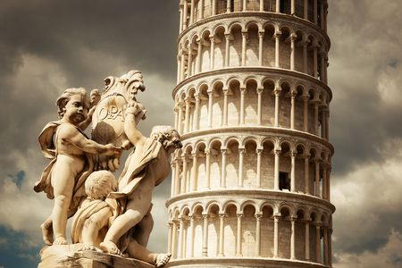 angels fountain: Leaning tower and fountain sculpture in Pisa, Italy as the worldwide known landmark.