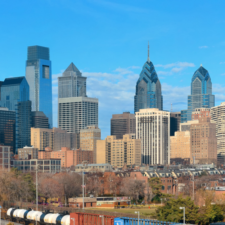 railway transport: Philadelphia skyline with urban architecture.