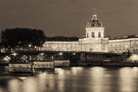 blackwhite: River Seine with Pont des Arts and Institut de France at night in Paris, France.